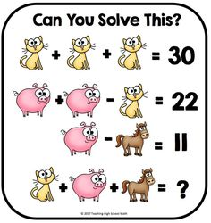 Algebra Critical Thinking Can You Solve This. by Teaching High School Math Math For Kids, Fun Math, Math Games, Brain Games, Thinking Skills, Critical Thinking, Math Logic Puzzles, Math Talk, Math Challenge