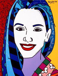 "Romero Britto's ""Tamara"" 2003, 40"" x 30""Acrylic on Canvas. Learn more about Romero Britto and Florida (The Sunshine State) at: www.floridanest.com"