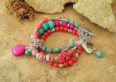 Boho Layered Bracelet Trendy Aztec Colors Hippie by BohoStyleMe