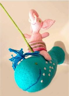 Blabla hand knit mobiles (how can you not love a pink elephant riding a whale?)