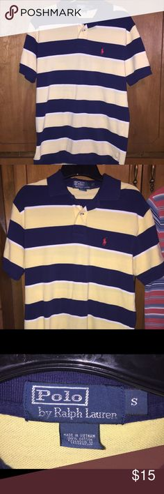 (1) Men's Small Polo Ralph Lauren Shirt This yellow/navy polo was only worn a couple of times, but it is in great condition. No stains or holes. Smoke-free home. Please do not hesitate to contact me if you have any questions or concerns. Thanks for looking! :) Polo by Ralph Lauren Shirts Polos