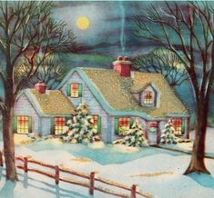 Beautiful Vintage Christmas Card, snowy view of cozy Home Images Vintage, Vintage Christmas Images, Old Fashioned Christmas, Christmas Scenes, Christmas Past, Retro Christmas, Vintage Holiday, Christmas Pictures, Christmas Windows