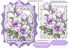 Lovely topper with lilac magnolias in a Ornate Frame  on Craftsuprint - Add To Basket!