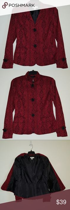 "Coldwater Creek Red & Black Jacquard Blazer, Sz. 8 Beautiful Coldwater Creek Women's Red & Black Jacquard Blazer Jacket, Size 8!!! 57% Polyester, 25% Wool, 12% Rayon, 6% Nylon, Lining 100% Polyester  Shoulder to Shoulder - 15.5"" Armpit to Armpit -  18.75"" Shoulder to Cuff - 23.5"" Armpit to Cuff - 17.5"" Arm Opening Across - 4.75"" (9.5"" around) Armpit to Waist - 14"" Neck to Waist - 23.5"" Waist Across - 20"" (40"" around)  Ready to Ship!!  Please contact me with any questions - I'll be happy to…"