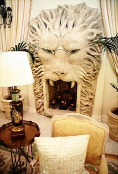 Lion-shaped fireplace, from the home of Kimora Lee Simmons (once shared with her ex-husband hip-hop mogul Russell Simmons). #fireplaces