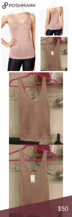 Brand new with tags rose gold metallic too Bar Iii's sweater-knit tank is a cool choice with jeans, as a layering piece for business wear or to add that extra touch to your outfit. Rayon/metallic threading. Hits at hip Bar III Tops