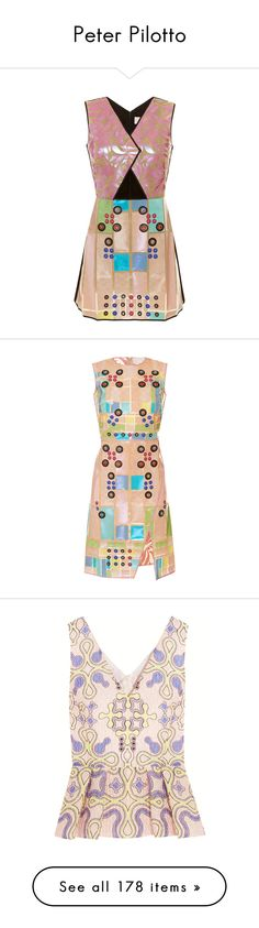 """""""Peter Pilotto"""" by alyssa23 on Polyvore featuring dresses, short mini skirts, sleeveless wrap dress, pink cocktail dress, a line cocktail dress, pastel pink dress, floral wrap dress, floral print dress, colorblock dress and color block dress"""