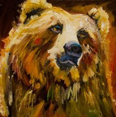 ARTOUTWEST HUMOR BEAR WILDLIFE ART Oil Painting By Diane Whitehead -- Diane Whitehead