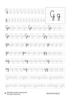 G - nauka pisania sylabami - karty pracy dla dzieci Sheet Music, Calligraphy, Teaching, Improve Handwriting, Speech Language Therapy, Literatura, Lyrics, Kids, Lettering