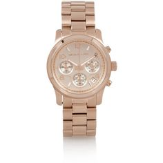 Michael Kors Rose gold-tone watch (230 CAD) ❤ liked on Polyvore featuring jewelry, watches, accessories, bracelets, michael kors, rose gold, michael kors watches, rose gold tone watches, stainless steel watches and michael kors jewelry