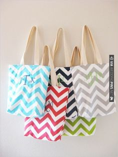 chevron totes for your bridesmaids that are simply irresistible! | CHECK OUT MORE IDEAS AT WEDDINGPINS.NET | #weddingfavors