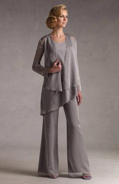 62bac4bb100c Classic Silver Gray Chiffon Mother Of The Bride Pant Suits on sale