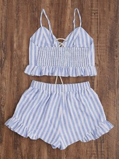 Online shopping for Striped Lace Up Smocked Cami And Ruffle Shorts Co-Ord from a great selection of women's fashion clothing & more at MakeMeChic. Dress Outfits, Casual Outfits, Cute Outfits, Fashion Outfits, Shorts Co Ord, Frill Shorts, Cropped Cami, Two Piece Outfit, Pretty Dresses