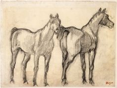 "Edgar Degas - Two Standing Horses (originally ""Study of Two Horses"") 1880 - Charcoal Sketches, Animal Drawings, Art Drawings, Edgar Degas, Drawings, Paul Klee Paintings, Horse Painting, Painting, Art"