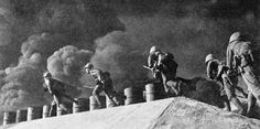The Japanese Campaign and Victory 8 December 1941 - 15 February 1942: A Japanese landing party charges into Hong Kong.
