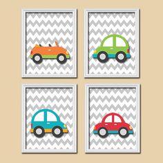Cute Car Transportation Chevron Pattern Set of 4 Prints WALL Decor ART Child Boy Bedroom Picture Decor on Etsy, $33.00