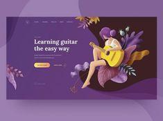 Guitar Lessons Promo Page concept first screen education school guitar music vector page landing web deisgn web ux ui illustration girl person fantasy Web Design Trends, Layout Design, Design De Configuration, Web Design Mobile, Site Web Design, Web Design Examples, Web Mobile, Web Design Quotes, Design Blog