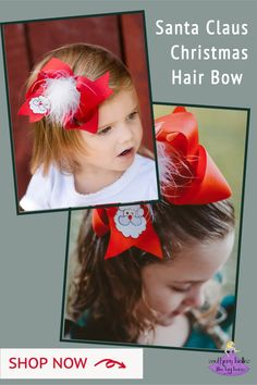 A red hair bow for Christmas that features an embroidered Santa with an adorable white fur poof. The perfect accessory for your holiday photos. Available in four different sizes. Our large and jumbo bow are big southern-size, attention grabbing bows! Our bows are carefully crafted to have a gorgeous boutique bow shape that stays full when worn. Shop all the sizes now. Christmas Hair Bows, Christmas Gifts For Girls, Santa Christmas, Red Hair Bow, Big Hair Bows, Bow Shop, Christmas Accessories, Boutique Hair Bows, Little Girl Outfits