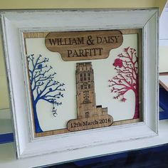 Personalised wedding gift for our good friends Will and Daisy. Each tree has details of things they like and the church is the one they got married in with the correct time! So chuffed with the outcome! Congratulations to you both. #woodenpicture #jld #new #weddingpresent #wedding #weddingdecor #weddings #oak #pink #blue