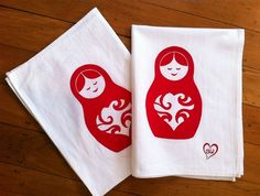 matroyshka doll tea towels