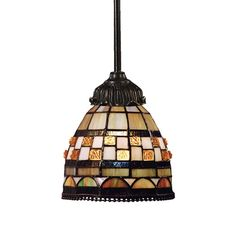 Titan Lighting 1-Light Tiffany Bronze Ceiling Mount Pendant