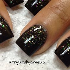 .@acrylicsbyamelia | Tammy Taylor colored acrylic over natural nails.. Black acrylic with black gl... | Webstagram - the best Instagram viewer