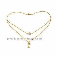collar de dos capa de llave en oro dorado de acero inoxidable -SSNEG481086