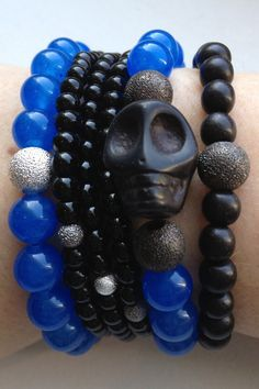 Blue Lapis and Black Skull Arm Party by JulietsArmParty on Etsy, $85.00