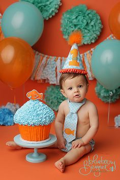 Boys Birthday Party Hat, Diaper Cover and Tie - Perfect for First Birthday, Smash Cake Pics, Photo Prop - Goldfish Aqua Teal Orange - Cake Smash Outfit