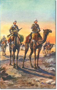 British; Camel Corps Sergeant and Officer 1884. The illustration by Harry Payne is from Barrett's history of The 7th Queen's Hussars, so should represent the Light Camel Regiment, which was raised from volunteers serving in the Light Cavalry.