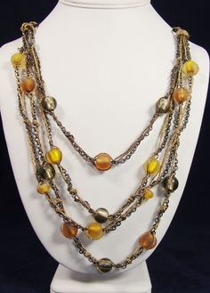 Coldwater Creek Necklace Multi-Strand Gold Dark Silver Chains Glass Beads #ColdwaterCreek #Statement