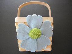 Flower Girl Basket Wedding Blue Green anemone or order custom colors by ArtisanFeltStudio on Etsy, $26.00
