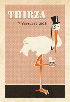 Geboortekaartje Thirza - voorkant - Pimpelpluis - https://www.facebook.com/pages/Pimpelpluis/188675421305550?ref=hl (# retro - ooievaar - dieren - hoed - koets - roze - vintage - origineel)
