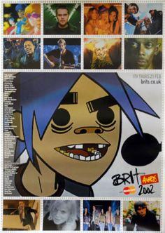 Brit Awards 2002 Gorillaz poster UK promo 20 X 30 ITV/MASTERCARD 2002 | eBay