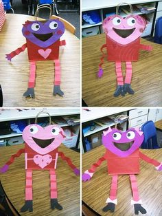 Valentine's Day bags~ Grab a paper bag, then out of construction paper cut out a heart for the head, circles for eyes, mouth, etc. Then cut strips for the legs and fold them accordian style, add some boots, hands and any other finishing touches to give your character personality. What a fun idea for all those Valentine treats you need to take home from a party.