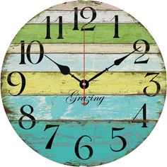 "Amazon.com: Grazing 12"" Vintage Blue Green Yellow Colorful Stripe Design Rustic Country Tuscan Style Wooden Decorative Round Wall Clock (Ocean): Home & Kitchen"