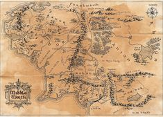 Wordsmithing and Worldbuilding: Top Ten Tolkien Tribute for Hobbit Day 2015 (Quotes, Feelings, Fanart, and More! Middle Earth Map, The Middle, Lord Of The Rings Tattoo, Lotr Tattoo, Westeros Map, Map Tattoos, Fantasy Map, Jrr Tolkien, Fantasy Landscape