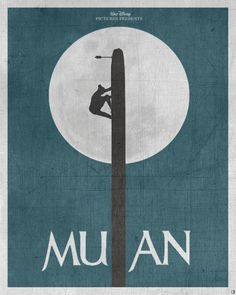 This movie poster recreates a famous scene from Mulan. The l in mulan is created with the pole mulan climbs. The moon in the background helps run out the silhouette of mulan. Disney Pixar, Heros Disney, Film Disney, Art Disney, Disney Kunst, Disney And Dreamworks, Disney Love, Disney Magic, Punk Disney