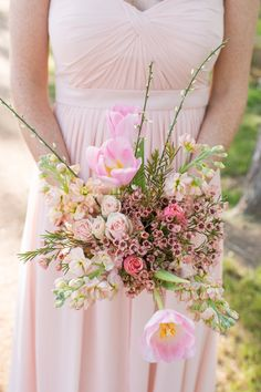 Pink Bridesmaids Bouquet - See the wedding on http://www.StyleMePretty.com/southwest-weddings/2014/04/02/pecan-springs-ranch-wedding/ TaraWelchPhotography.com