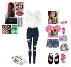 """Taking Paige to her aunts place"" by love-5secondsofsummer ❤ liked on Polyvore featuring Joe's Jeans, Vans, My Little Pony, Topshop, adidas Originals, adidas, Disney, Eos, Michael Kors and MICHAEL Michael Kors"