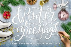 Winter Greetings Lettering Pack by beauty drops on @creativemarket