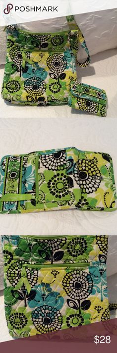 Vera Bradley purse and wallet This purse is in need of a cleaning. It's truly not that bad just everyday use. No rips or stains. The wallet has a dark spot inside the wallet look at pic four. I was trying to show you the handle too. Like all cloth purse the handle gets dirty. Other than that it in great condition. Smoke/pet free home. I purchased this from my dear young friend that's has disabilities, she was selling it at a fund raiser so she could go on a mission trip to New Mexico…