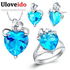 Find More Jewelry Sets Information about Cubic Zircon Sapphire Purple Jewelry Sets Pendant+Earrings+Ring Fashion Bridal Jewelry Sets for Women Bijoux Mariage Uaib T065,High Quality set pink,China earrings for little girls Suppliers, Cheap earring necklace set from ULOVE No.2 Fashion Jewelry Store  on Aliexpress.com