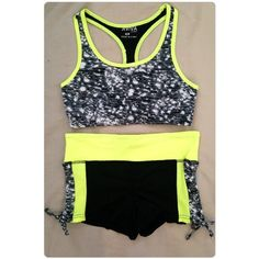 NeonGreen&Black Workout Shorts/SportsBra NO TRADES NWT size medium Accessories