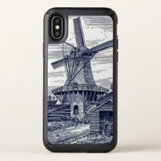 Dark Blue Antique Delft Blue Dutch Windmill Speck iPhone X Case - beauty gifts stylish beautiful cool
