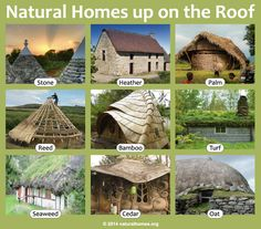 These homes all use different natural materials for their roof demonstrating the material's versatility, and in many cases longevity, up to 400 years. Find out about them at www.naturalhomes.org/natural-building-roof.htm