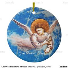 FLYING CHRISTMAS ANGELS IN BLUE.FLIGHT INTO EGYPT Double-Sided CERAMIC ROUND CHRISTMAS ORNAMENT
