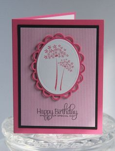 Happy Birthday Hand Made Card Pink Flowers by LaurasPaperCreations