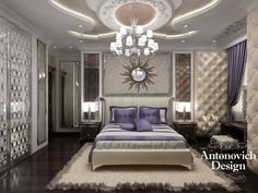This bedroom is rich in decorative elements, which are in harmony, emphasize the uniqueness and elegance of the bedroom. A particularly interesting element is the soft wall, which creates a special comfort in the room.