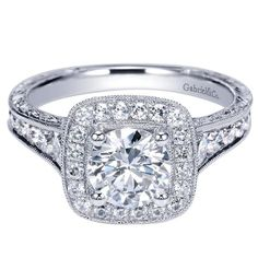 It's hip to be square. Gabriel & Co. 14k White Gold Victorian Halo Engagement Ring.